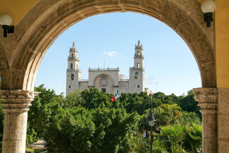 De kathedraal van Merida op Yucatan royalty-vrije stock foto's