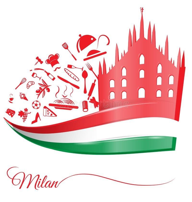 De kathedraal van Milaan met Italiaanse vlag vector illustratie