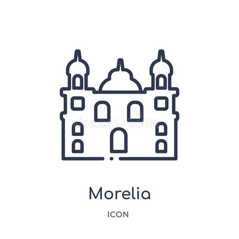 de kathedraal van Morelia in het pictogram van Mexico van de inzameling van het monumentenoverzicht De dunne die kathedraal van l vector illustratie