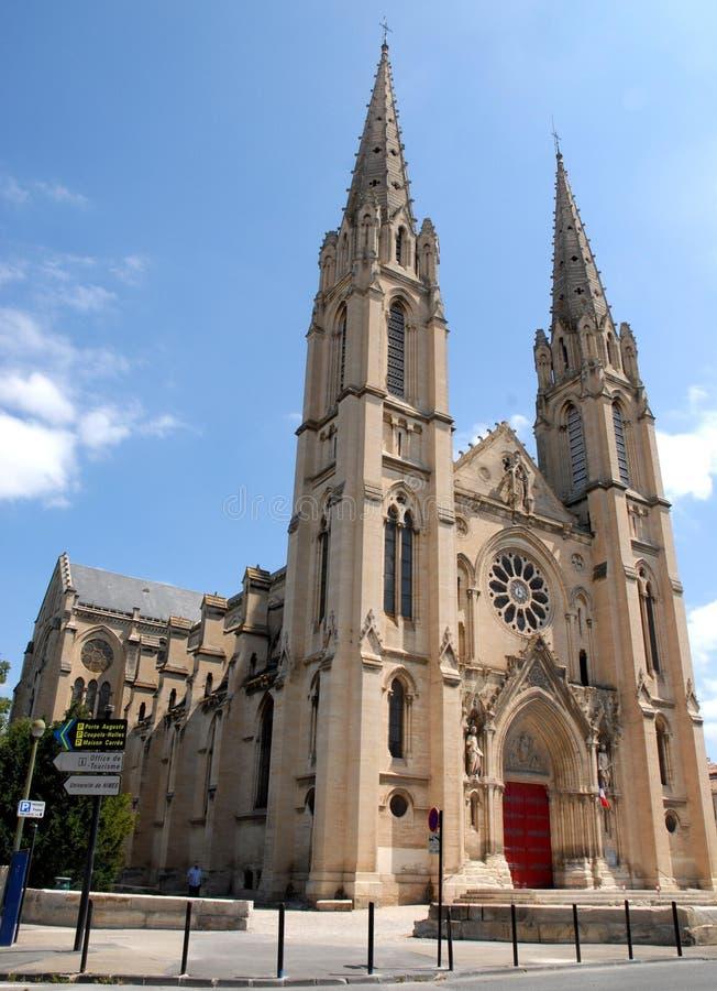 De Kathedraal van Nîmes in Frankrijk stock fotografie