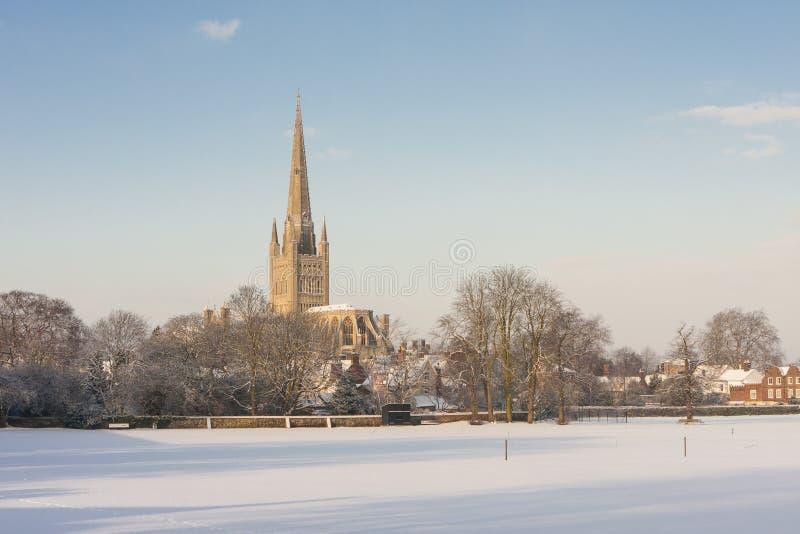 De Kathedraal van Norwich in de winter stock foto