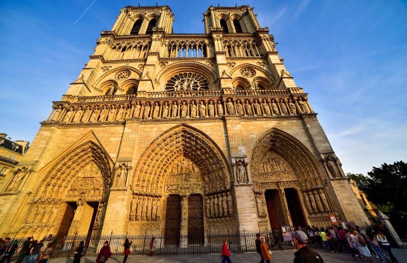 De Kathedraal van Notre Dame in Parijs stock afbeeldingen