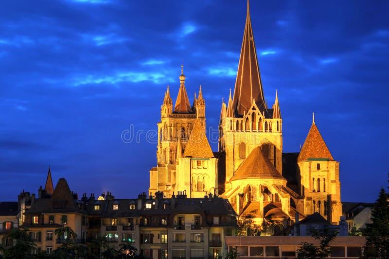 De Kathedraal van Notre-Dame van Lausanne, Zwitserland stock foto's