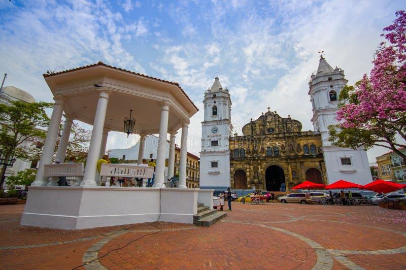 De Kathedraal van Panama, Zout Felipe Old Quarter, Unesco stock foto