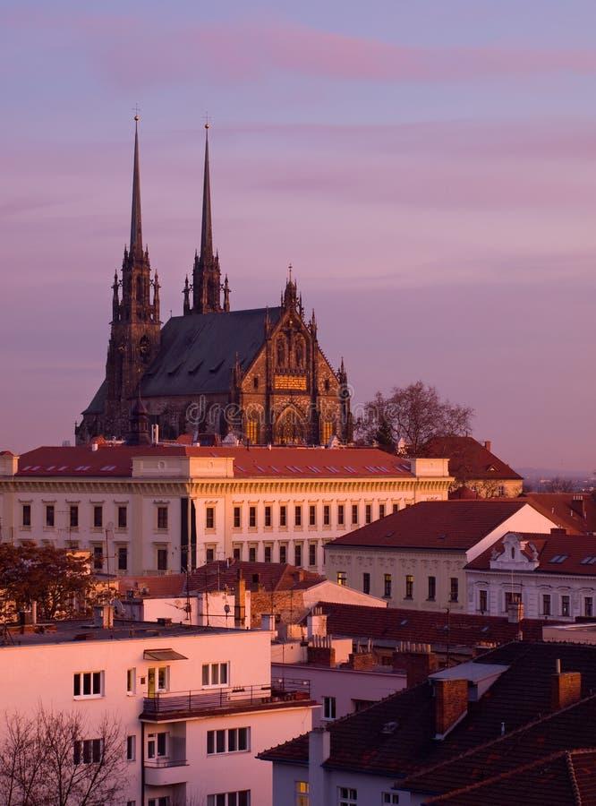 De kathedraal van Petrov in Brno, Tsjechische republiek stock foto's