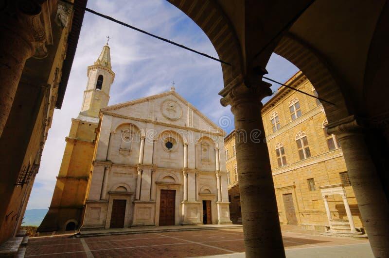 De kathedraal van Pienza stock foto