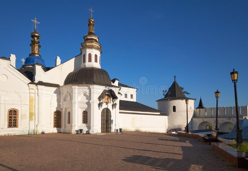 De Kathedraal van de Pokrovskywinter Tobolsk het Kremlin Tobolsk Rusland stock foto
