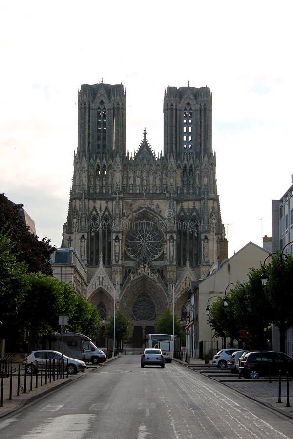 De Kathedraal van Reims, Frankrijk stock foto's