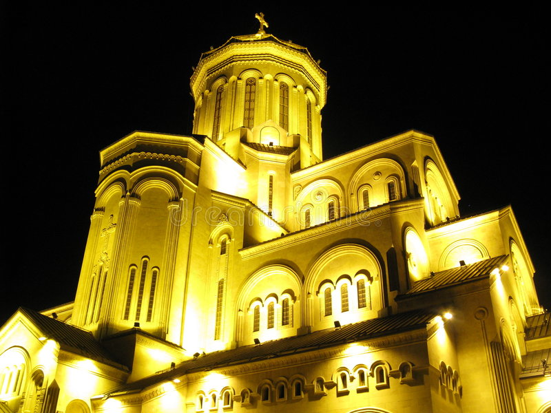 De Kathedraal van Sameba in Tbilisi, Georgië stock foto