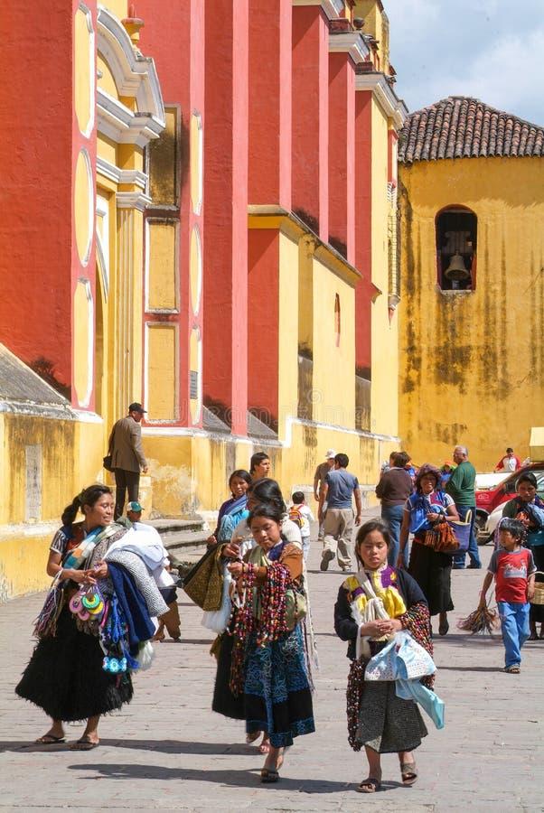 De kathedraal van San Cristobal DE las Casas op Chiapas stock foto