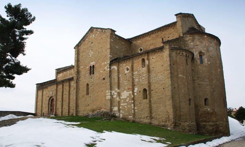 De kathedraal van San Leo Montefeltro, Rimini, Italië stock afbeelding