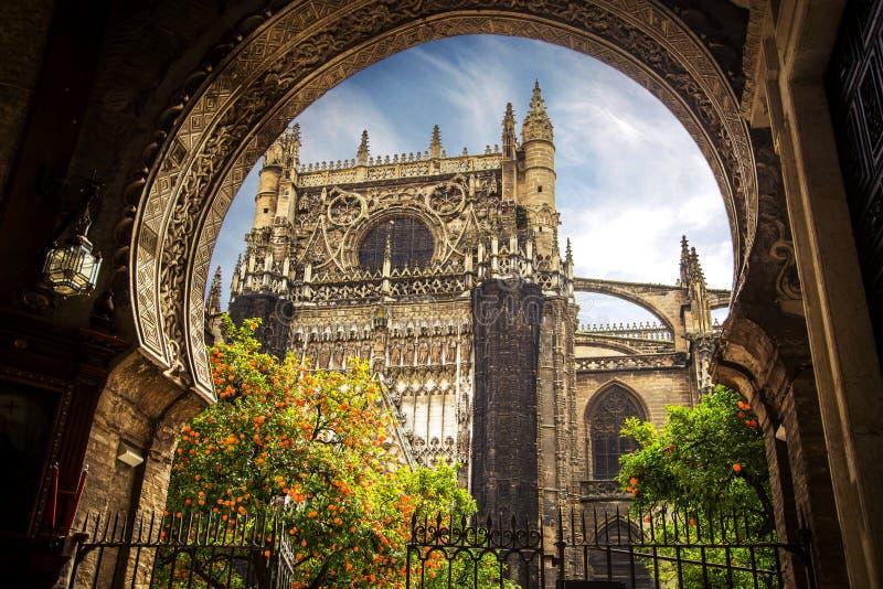 De Kathedraal van Sevilla, Giralda-toren, Sevilla, Spanje stock afbeelding