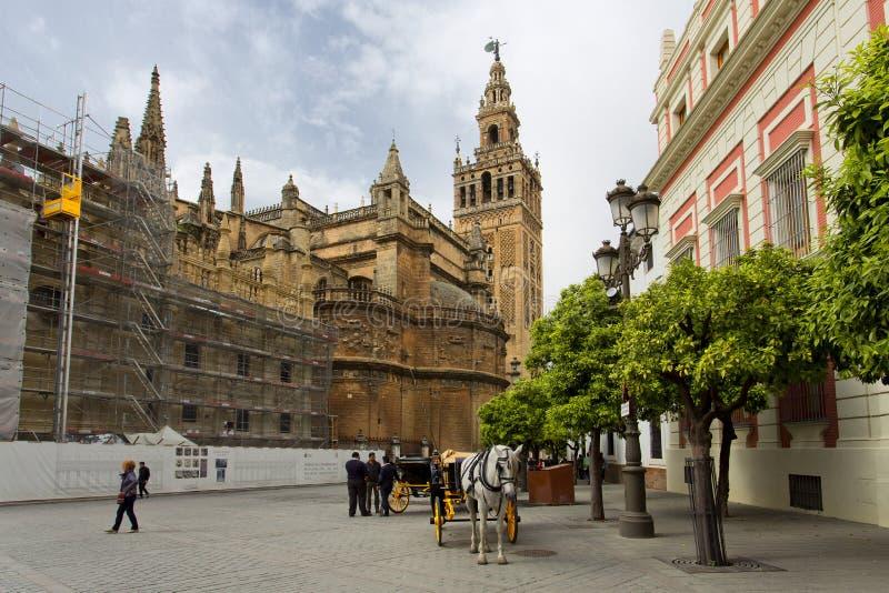 De Kathedraal van Sevilla met de Giralda-meningen van Piazza Virg stock foto