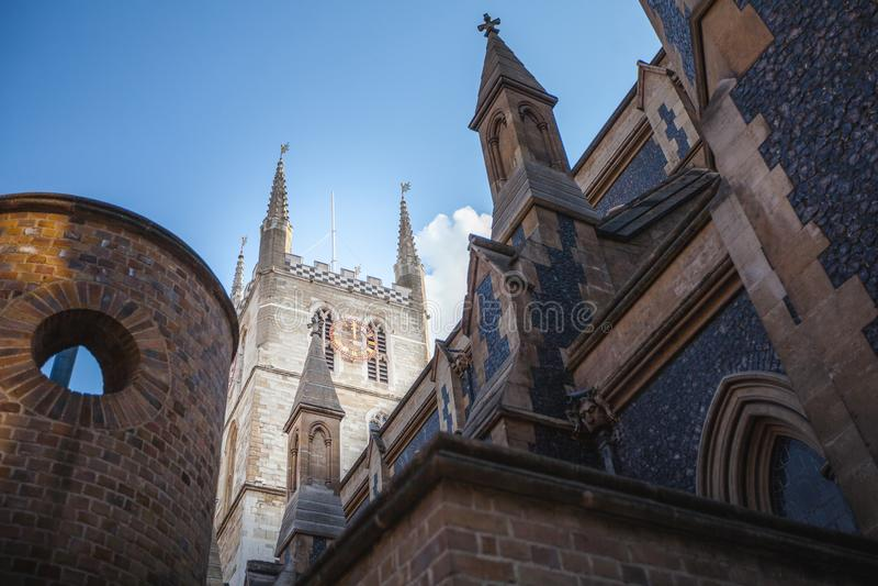 De Kathedraal van Southwark in Londen stock foto