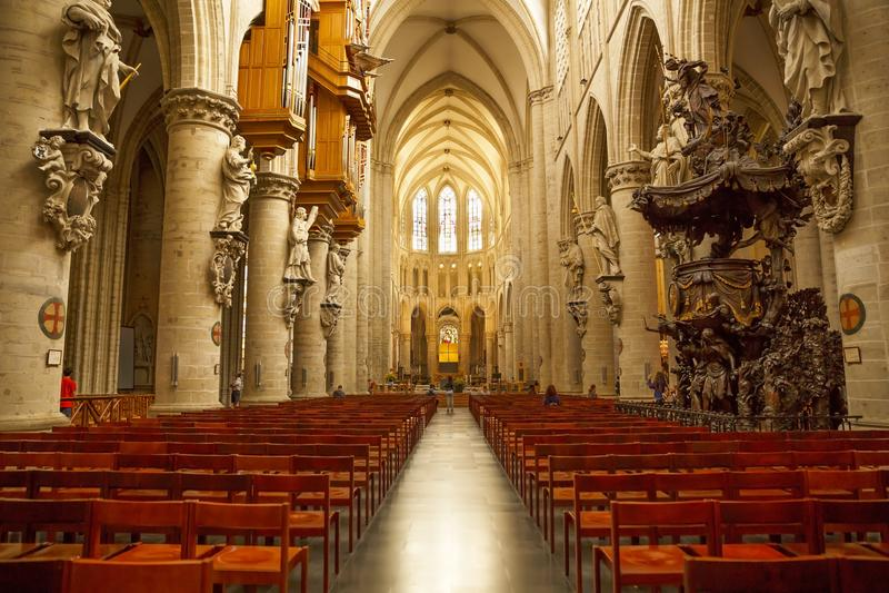 De Kathedraal van St Michael en St Gudula royalty-vrije stock afbeeldingen