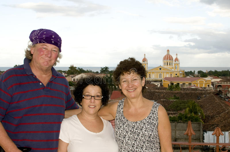 De Kathedraal van toeristen van Granada Nicaragua stock fotografie