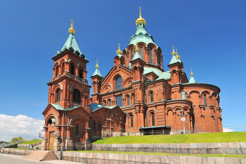 De Kathedraal van Uspensky in Helsinki finland stock fotografie
