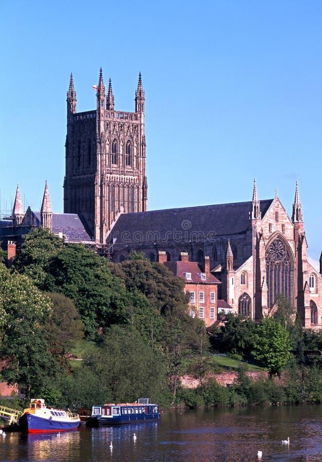 De Kathedraal van Worcester stock afbeelding
