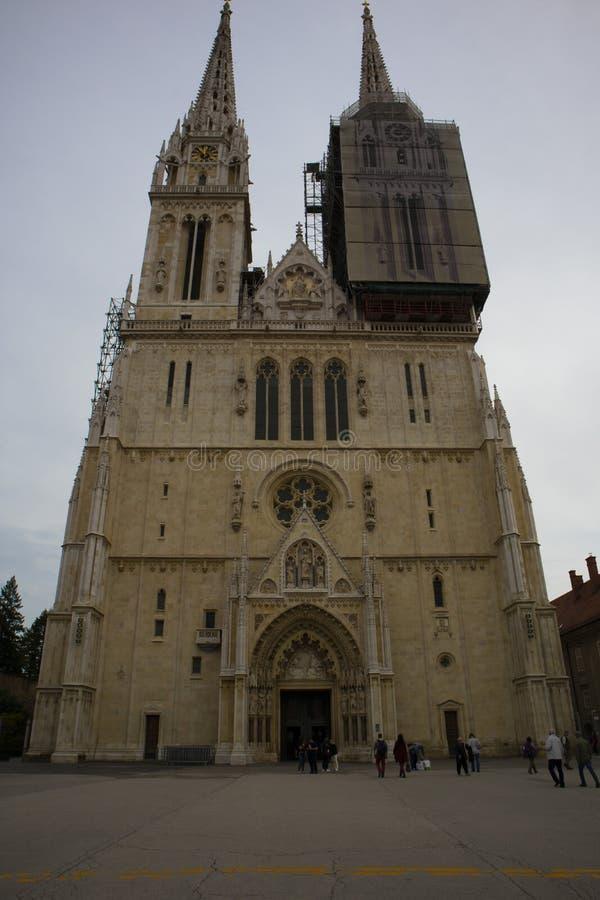 De Kathedraal van Zagreb, Kroatië stock foto's