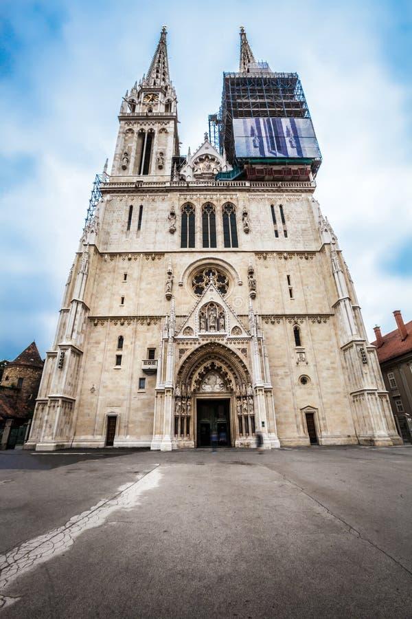 De Kathedraal van Zagreb op Kaptol, Kroatië stock foto
