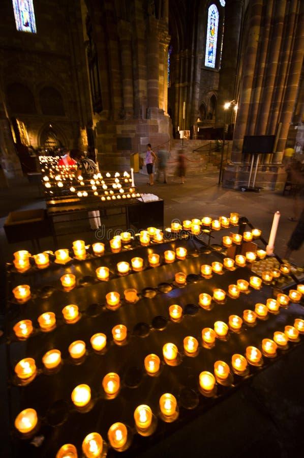 De kathedraalbinnenland van Frankrijk Strasborg Notre Dame stock foto's