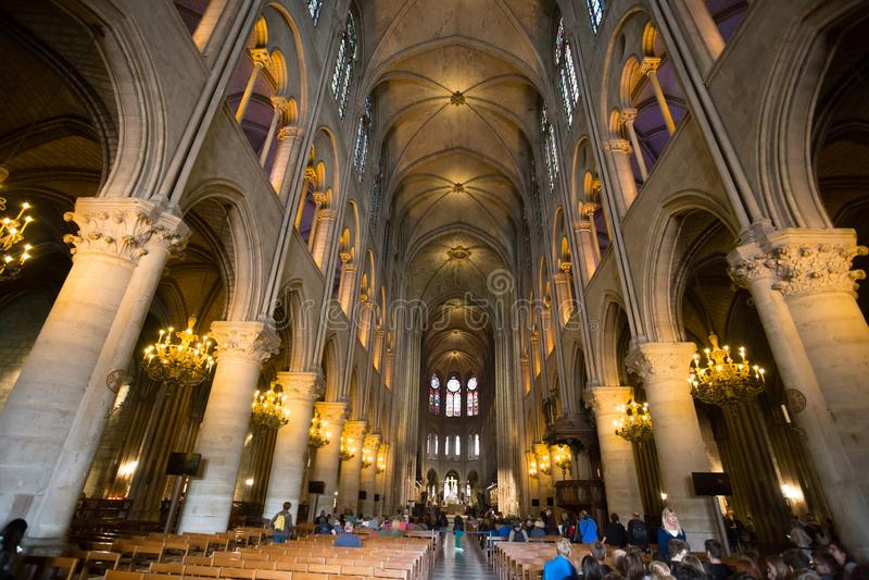 De kathedraalbinnenland van Notredame de paris, Parijs, Frankrijk stock afbeelding