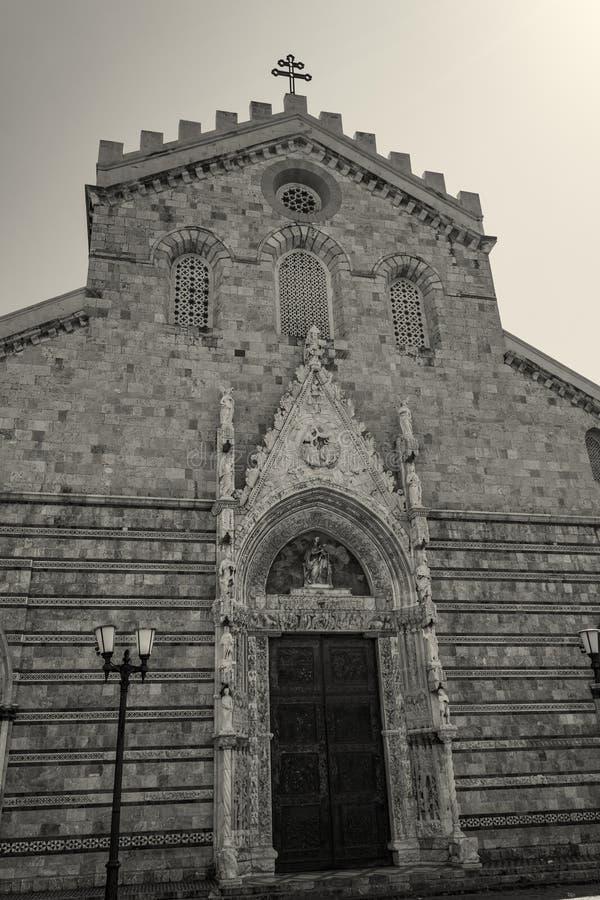 De Kathedraalingang van Messina Duomo, Italië Sicilië stock foto