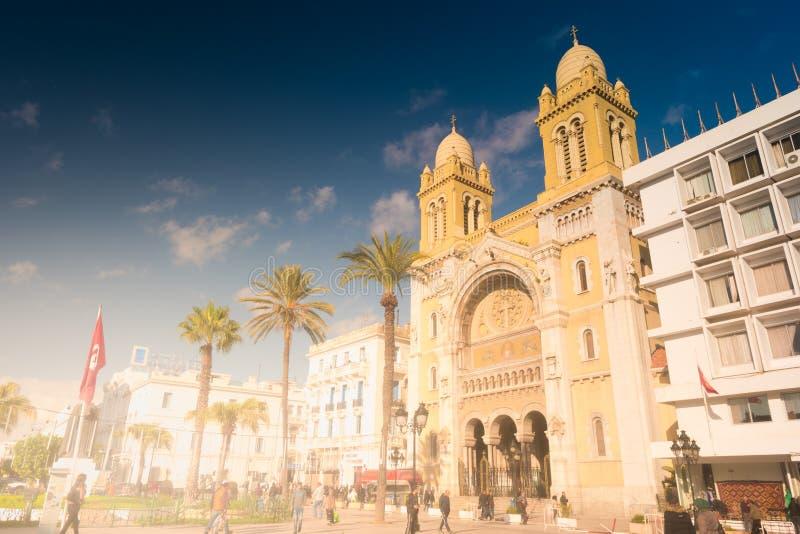 De katholieke Kathedraal in Tunesië, Tunis stock fotografie