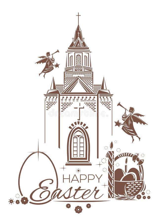De katholieke Kerk, brandende kaars, mand van paaseieren, engelen blaast trompetten vector illustratie