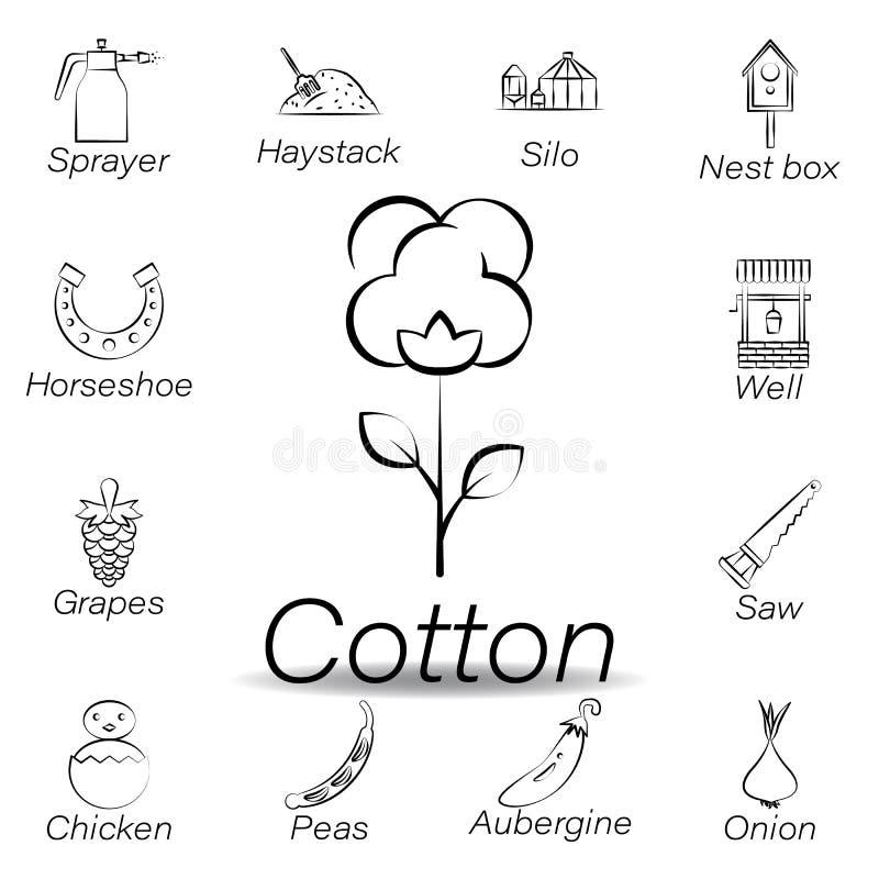 De katoenen hand trekt pictogram Element van de landbouw van illustratiepictogrammen De tekens en de symbolen kunnen voor Web, em vector illustratie