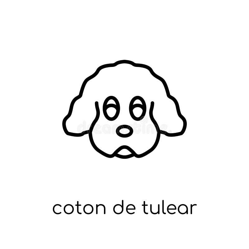 De katoenen hondpictogram van DE Tulear In modern vlak lineair vectorkatoen vector illustratie