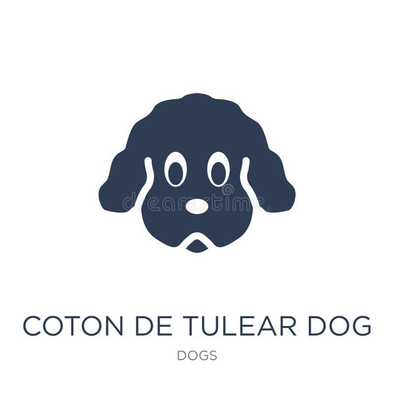 De katoenen hondpictogram van DE Tulear De in vlakke vector Katoenen hond van DE Tulear vector illustratie
