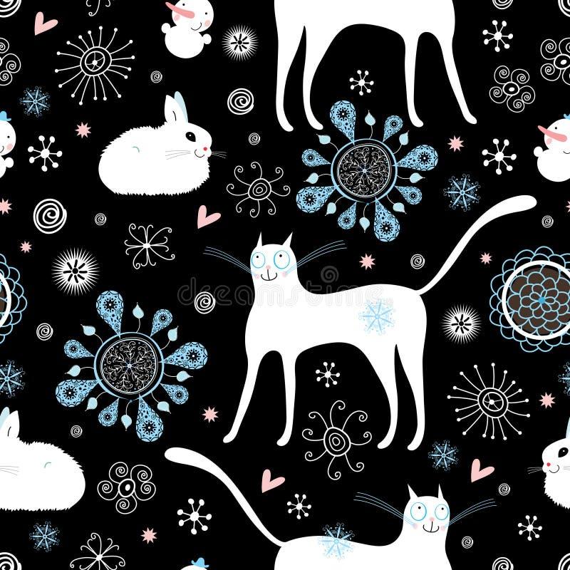 De katten en de konijnen van de textuur royalty-vrije illustratie