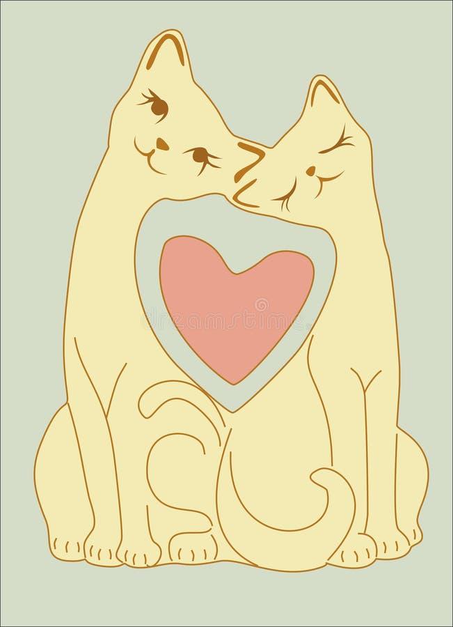 De katten van de liefde stock illustratie
