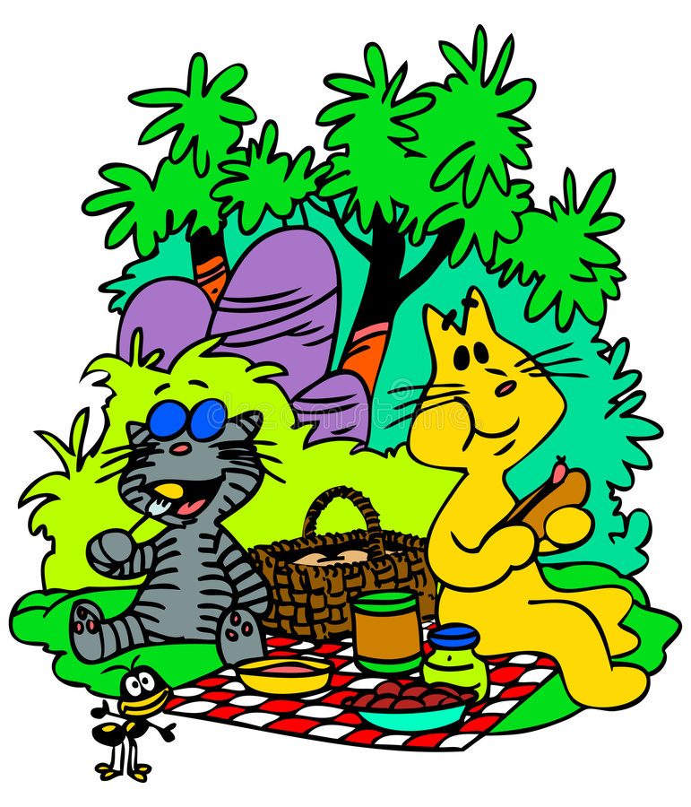 De Katten van de picknick stock illustratie