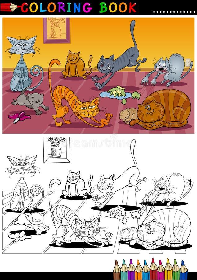 De Katten van het beeldverhaal voor het Kleuren van Boek of Pagina stock illustratie