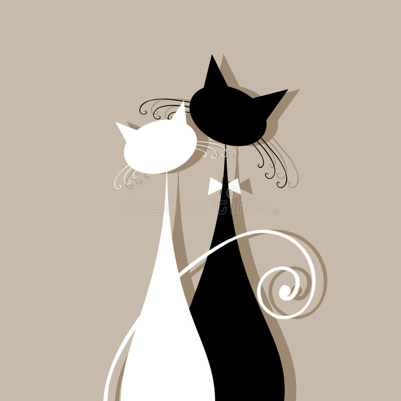 De katten van het paar samen, silhouet voor uw ontwerp royalty-vrije illustratie