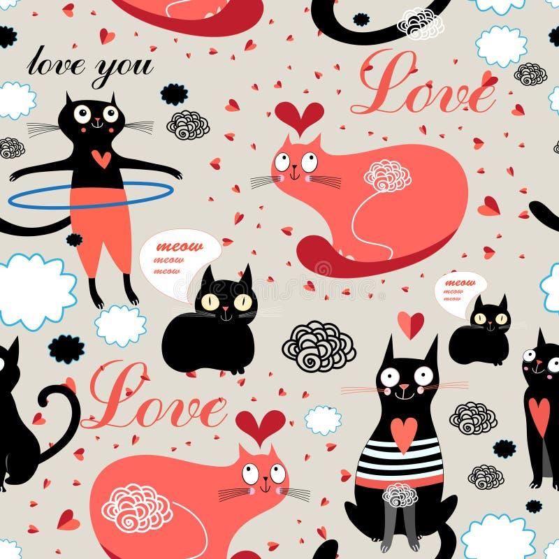 De katten van patroonminnaars royalty-vrije illustratie