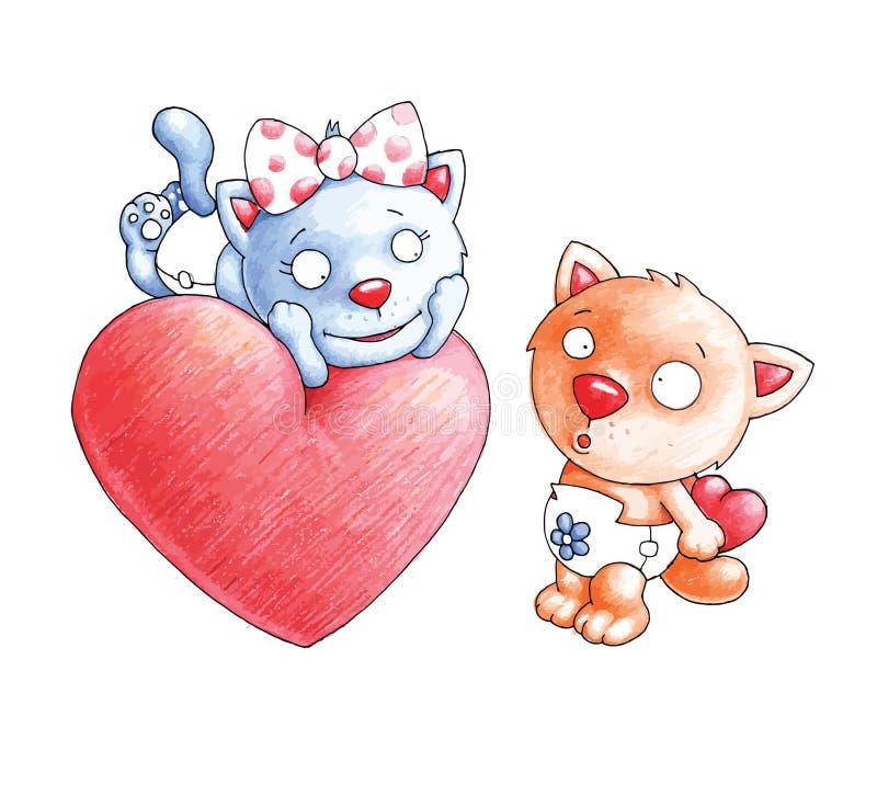 De Katten Zijn In Liefde Stock Foto