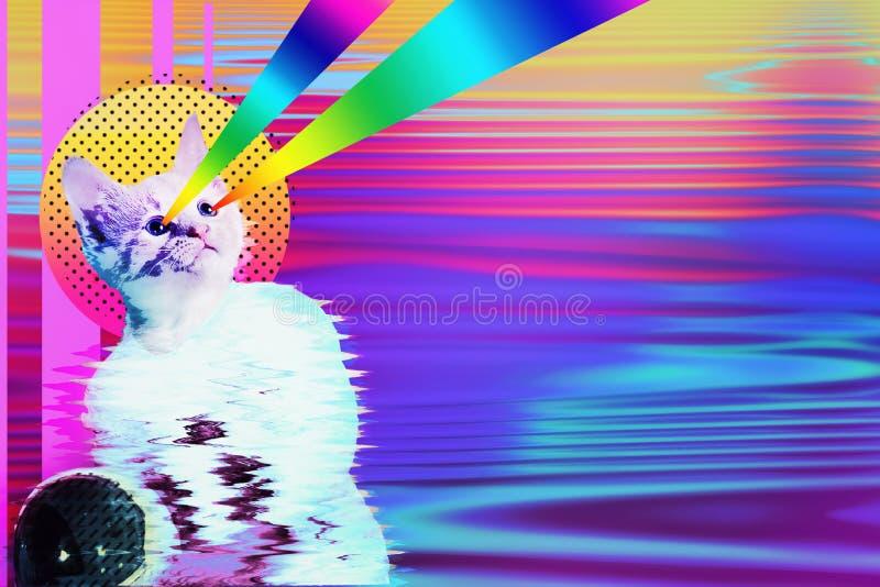 De kattencollage van de pop-artastronaut met regenboogstralen royalty-vrije illustratie