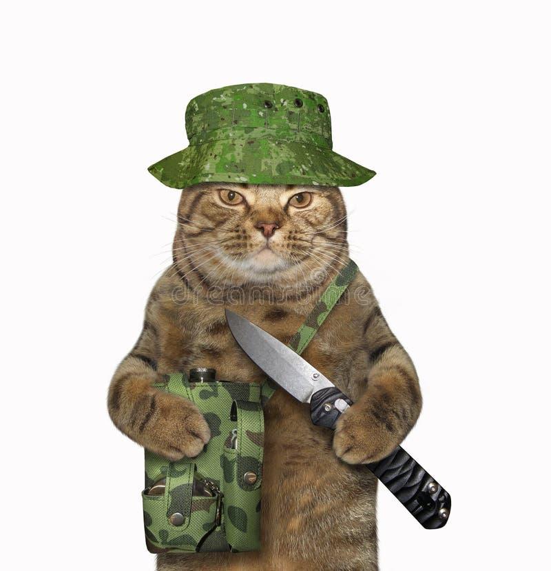 De kattenjager houdt een knipmes royalty-vrije stock foto