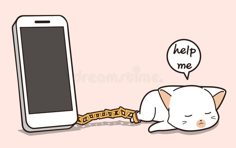 De kattenkarakter van de Kawaiigevangenis met een smartphone stock illustratie