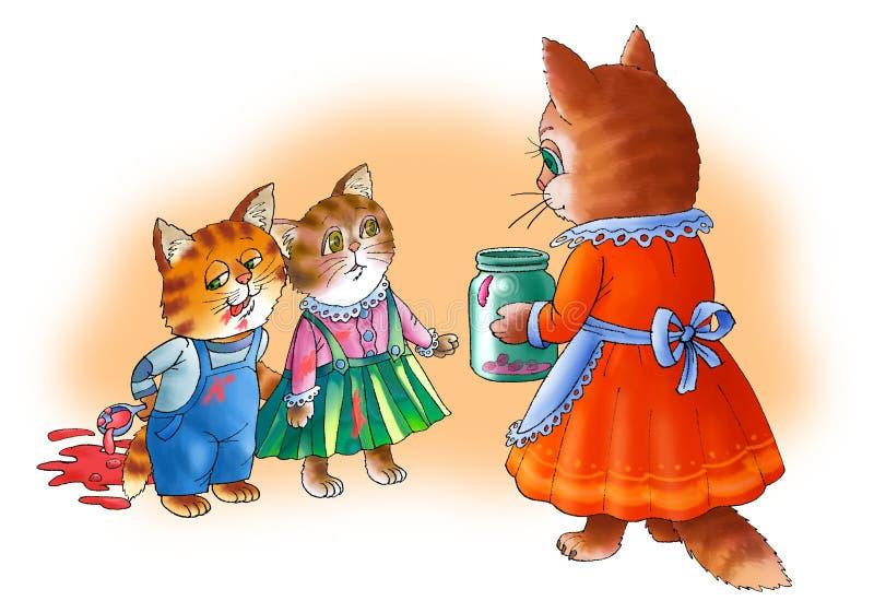 De kattenmamma's beëindigen katje. royalty-vrije illustratie