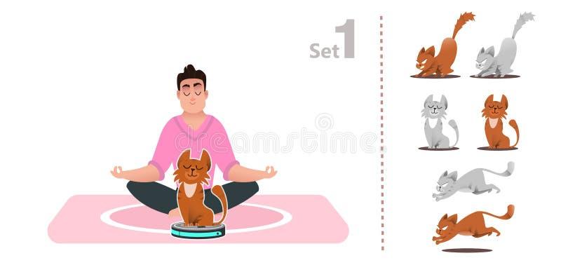 De kattenspelen met een stofzuiger, berijdt een slimme stofzuiger, vector illustratie