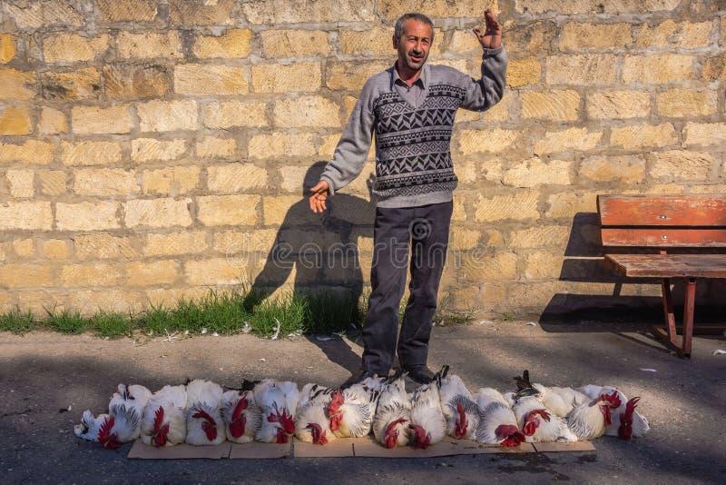 De Kaukasische bergbeklimmer verkoopt levende hanen stock afbeeldingen