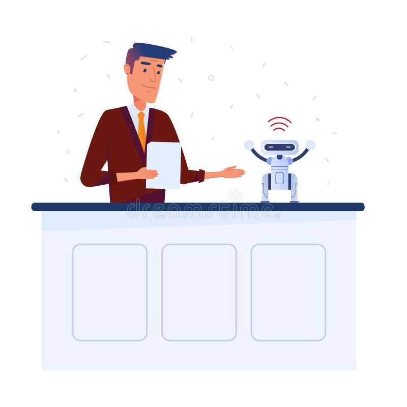 De Kaukasische mensenuitvinder plaatst - omhoog kleine robot met tablet via WiFi-verbinding stock illustratie
