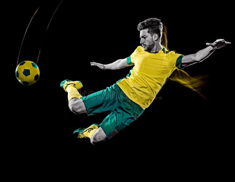 De Kaukasische voetballermens isoleerde het zwarte lichte schilderen als achtergrond royalty-vrije stock foto