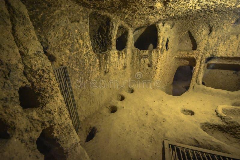 Is de Kaymakli Ondergrondse Stad bevat binnen de citadel van Kaymakli in Centrale Anatolia Region van Turkije stock foto's