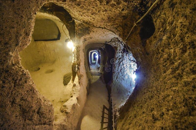 Is de Kaymakli Ondergrondse Stad bevat binnen de citadel van Kaymakli in Centrale Anatolia Region van Turkije royalty-vrije stock afbeeldingen