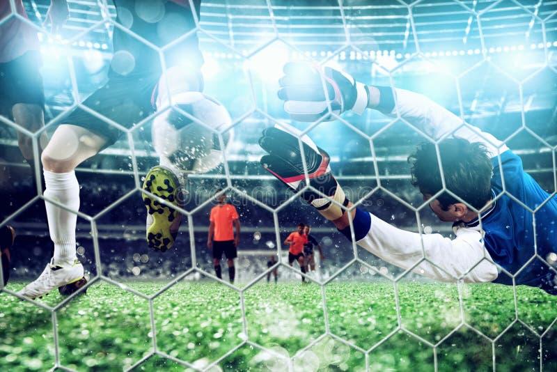 De keeper vangt de bal in het stadion tijdens een voetbalspel stock afbeelding